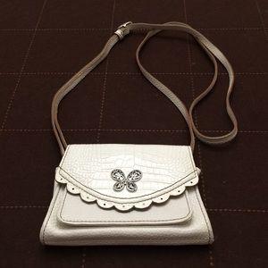 Brighton White pebbled leather mini flap crossbody